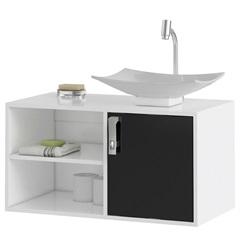Gabinete Suspenso para Banheiro com Cuba Lisboa 80cm Branco E Preto - MGM Móveis