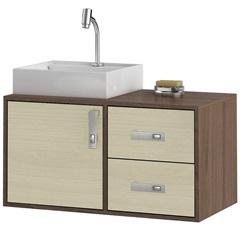 Gabinete Suspenso para Banheiro com Cuba Napoli 80cm Acácia E Castanho - MGM Móveis