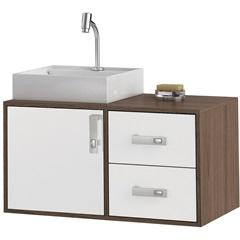 Gabinete Suspenso para Banheiro com Cuba Napoli 80cm Branco E Castanho - MGM Móveis