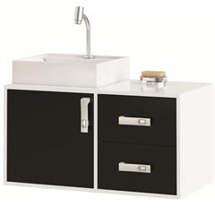 Gabinete Suspenso para Banheiro com Cuba Napoli 80cm Branco E Preto - MGM Móveis
