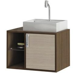 Gabinete Suspenso para Banheiro com Cuba Sevilha 60cm Acácia E Castanho - MGM Móveis