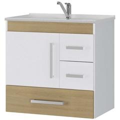 Gabinete Suspenso para Banheiro com Tampo Florença 60cm Nogueira - MGM Móveis