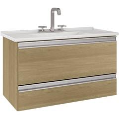 Gabinete Suspenso para Banheiro com Tampo Treviso 80cm Nogueira - MGM Móveis