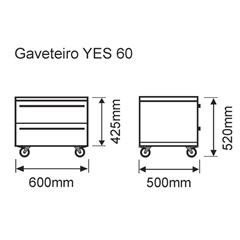 Gaveteiro Yes 60 Antique            - Bumi