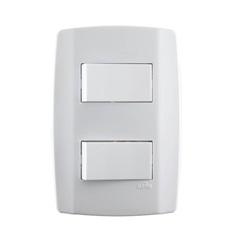 Interruptor Simples com Duas Teclas 10a 250v Horizontal Slim - ILUMI