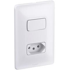 Interruptor Simples Mais Tomada Eétrica Zeffia 680112 4x2 10 Ampéres 250v - Pial Legrand