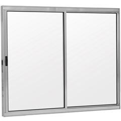 Janela 2 Folhas de Alumínio sem Bandeira Linha Prata 100x150cm - Ebel