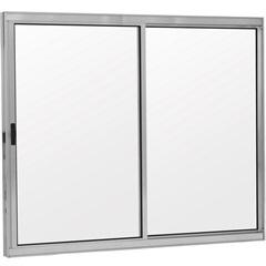 Janela 2 Folhas de Alumínio sem Bandeira sem Grade Linha Prata 100x100cm - Ebel