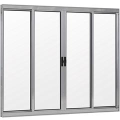 Janela 4 Folhas de Alumínio sem Bandeira Linha Prata 100x120cm  - Ebel