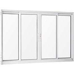 Janela 4 Folhas de Alumínio sem Bandeira sem Grade Una Branca 100x120cm - Casanova