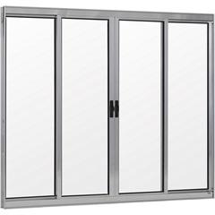 Janela de Alumínio 4 Folhas 120x200 Cm sem Bandeira Linha Prata Ref.: 820601  - Ebel