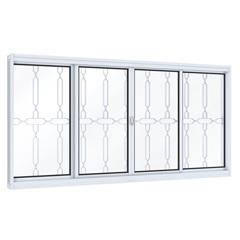 Janela de Correr Central  Mosaico Branco 100x120cm - Lucasa