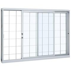Janela de Correr com Grade Quadriculada 1,00x1,20m Prátika Branca  - Sasazaki