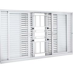 Janela Veneziana de Correr Central com Grade Clássica Aluminium Multiflex 120x200cm Branca - Sasazaki
