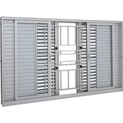 Janela Veneziana de Correr Central com Grade Multiflex Aluminium 120x150cm Branca - Sasazaki