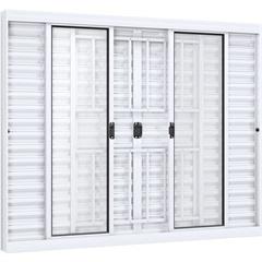 Janela Veneziana de Correr Central com Grade Quadrada Ideale 120x150cm Branca - Lucasa