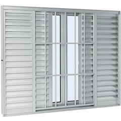 Janela Veneziana de Correr Grade Classic 6 Folhas Branco Aluminium 1,20x2,00 Ref: 70226170 - Sasazaki