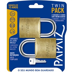 Jogo de Cadeado em Latão Twin Pack 25mm com 2 Peças - Papaiz