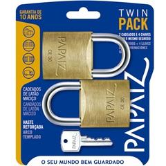 Jogo de Cadeado em Latão Twin Pack 30mm com 2 Peças - Papaiz