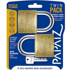 Jogo de Cadeado em Latão Twin Pack 45mm com 2 Peças - Papaiz