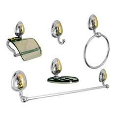 Kit de Acessórios para Banheiro Bonno 5 Peças Fumê/Cromado/Dourado - Stamplas
