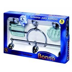 Kit de Acessórios para Banheiro Bonno 5 Peças Verde/Cromado - Stamplas