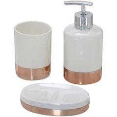 Kit de Acessórios para Banheiro com 3 Peças Creme E Rosê - Importado
