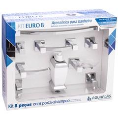 KIT DE ACESSÓRIOS PARA BANHEIRO EURO 8 PEÇAS CRISTAL/CROMADO 862134 Stamplas