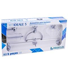 Kit de Acessórios para Banheiro Ideale 5 Peças Cristal/Cromado - Stamplas