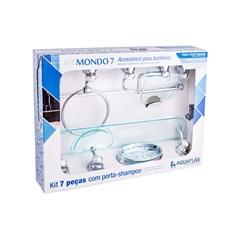 Kit de Acessórios para Banheiro Mondo 7 Peças Verde/Cromado - Stamplas