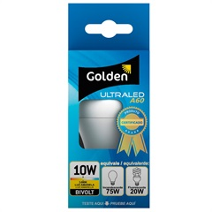Lâmpada Led Bulbo a60 10w Bivolt 3000k - Golden