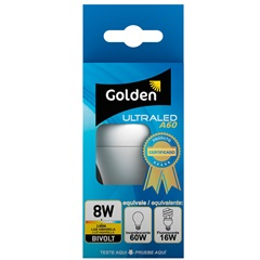 Lâmpada Led Bulbo a60 8w Bivolt 3000k - Golden