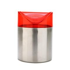 Lixeira Inox com Tampa Vermelha 1 Litro - Importado