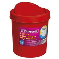 Lixeira Redonda com Tampa Basculante 4,3 Litros Vermelha - Primafer