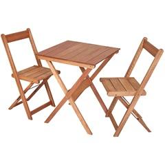 Mesa de Madeira com 2 Cadeiras Dobráveis Lyptus Orquídea - Metalnew