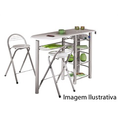 Mesa de Metal Branco com 2 Banquetas Frida - Interlink