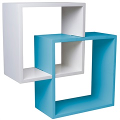 Nicho Acoplado Branco E Azul 34cm - Decorprat