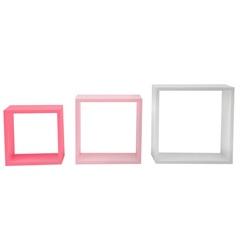 Nicho Trio 35cm Branco Rosa E Pink - Decorprat