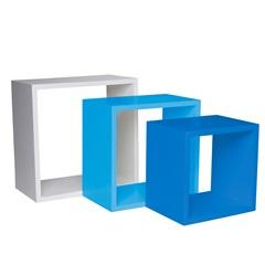 Nicho Trio Branco, Azul Claro E Azul Escuro 35cm - Decorprat