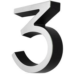 Número 3 Cromado E Preto - Fixtil