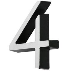 Número 4 Cromado E Preto