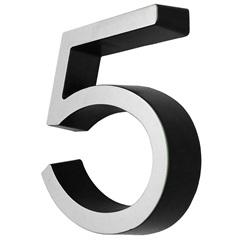 Número 5 Cromado E Preto