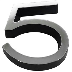 Número 5 Plástico 8cm Preto Cromado - Fixtil