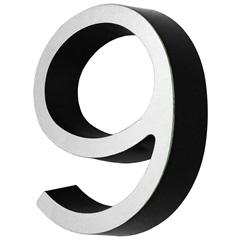 Número 9 Cromado E Preto