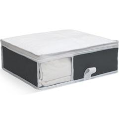 Organizador para Roupa de Cama com Visor 30x36x10cm Cinza - Boxgraphia