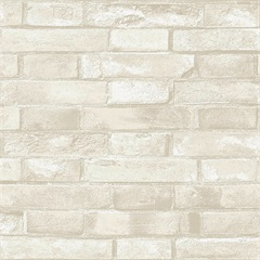 Papel de Parede Estilo Natural Tijolo Bege E Branco 0.53x10m - Komlog