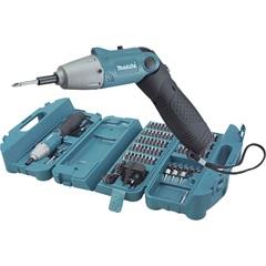 """Parafusadeira a Bateria 4,8v 1/4"""" 220v com Maleta E Acessórios Azul E Preta - Makita"""