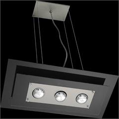 Pendente de Vidro Retangular para 3 Lâmpadas Spacial Preto - Pantoja & Carmona