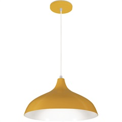 Pendente em Alumínio para 1 Lâmpada Pera Minas Gerais 33x18cm Amarelo - Nacional Iluminação