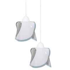 Pendente em Vidro para 2 Lâmpadas Hélice 80x49cm Branco - Auremar
